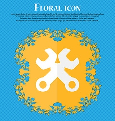 Wrench key sign icon service tool symbol floral vector