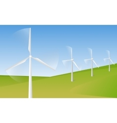 Wind turbine farm in green fields during sunrise vector image
