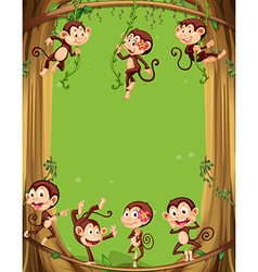 Border design with monkeys on the tree vector image