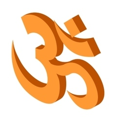 Hindu om symbol icon isometric 3d style vector