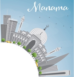 Manama skyline with gray buildings vector