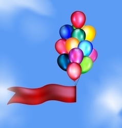 Tape and balloons in the sky vector