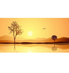 Landscape with reflection vector