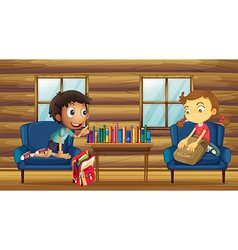 A boy and a girl with their schoolbags inside the vector image