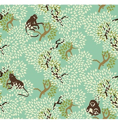 Abstract floral seamless pattern Trees and monkeys vector image vector image