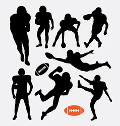 American football player silhouettes vector image vector image