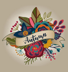 autumn bouquet with ribbon lettering vector image