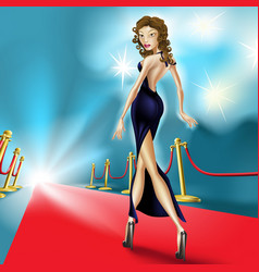 Beautiful elegant woman on the red carpet vector