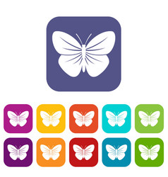 Black butterfly icons set vector