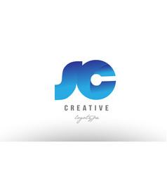 Blue gradient sc s c alphabet letter logo vector