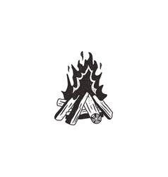 bonfire retro icon vector image vector image