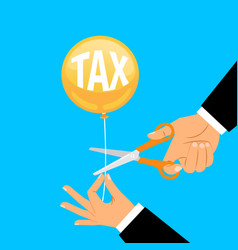 businessman hand cutting tax balloon string vector image vector image