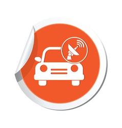 Cars satelite orange label vector