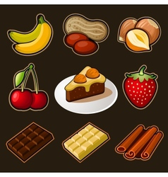 Chocolate icons set vector image vector image
