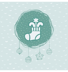 Christmas and new year round frame with stocking vector