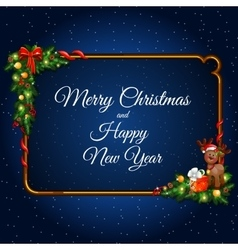 Christmas elements on dark blue background vector image