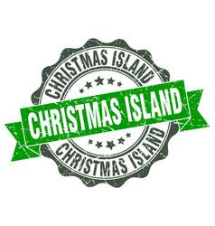 Christmas island round ribbon seal vector