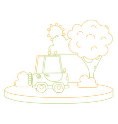 color line agrimotor car in the city with tree and vector image