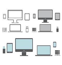 Desktop computers vector image