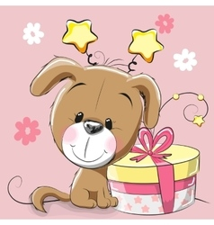 Dog with gift vector image vector image