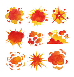 Explosions set fire explosion effect watercolor vector