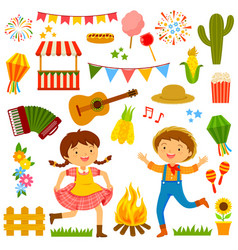 festa junina cartoons set vector image vector image
