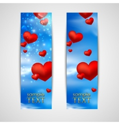 happy valentines day banners with red hearts on vector image vector image