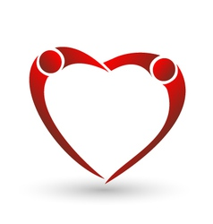 Heart of couple figure logo vector image vector image