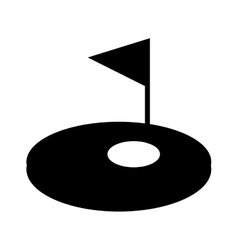 hole golf sport with flag icon vector image
