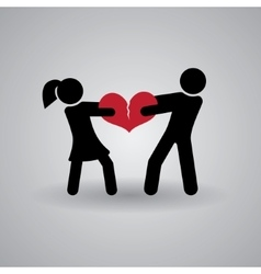 Love and relationship stickmans broken heart vector