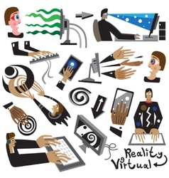 man at computer virtual reality vector image