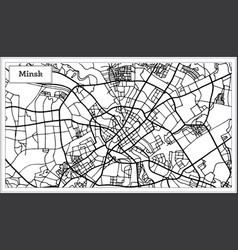 Minsk belarus city map in black and white color vector