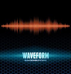 Orange shiny sound waveform on hex grid vector