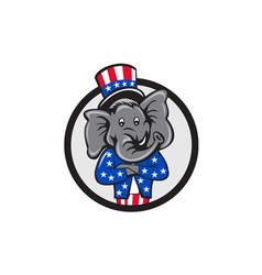 Republican elephant mascot arms crossed circle vector