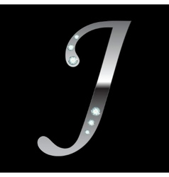 silver metallic letter J vector image