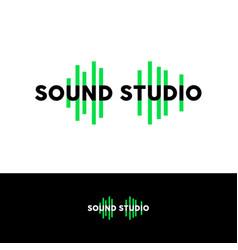 sound studio logo emblem green equalizer vector image
