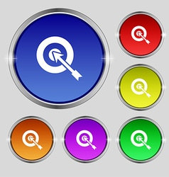 Target icon sign round symbol on bright colourful vector