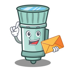 With envelope flashlight cartoon character style vector