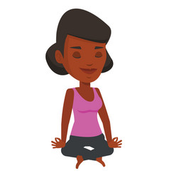 Woman meditating in yoga lotus pose vector