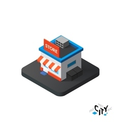 Isometric store icon building city infographic vector