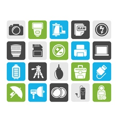 Silhouette camera equipment and photography icons vector