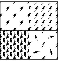 Set of lightning seamless patterns in black vector