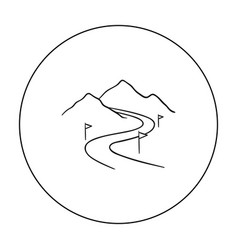 ski track icon in outline style isolated on white vector image