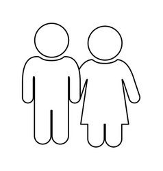 monochrome contour of pictogram with couple vector image