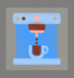 flat shading style icon electronic coffee machine vector image