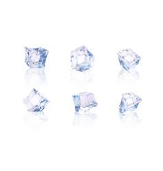 set of six transparent ice cubes vector image