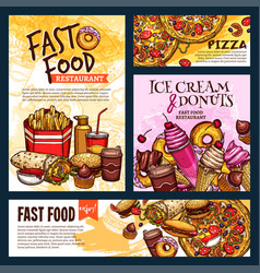 Fast food restaurant posters and banners vector