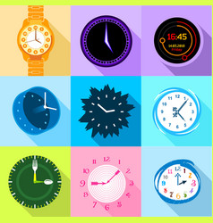 clock and watch icons set flat style vector image