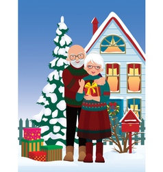Elderly couple getting gifts at Christmas vector image