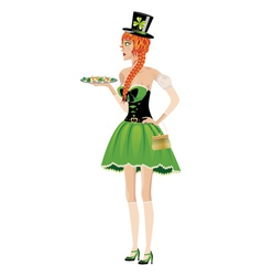 Leprechaun girl with gold coins vector
